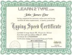 Typing Certifications Printed